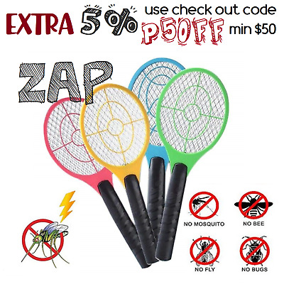 2x Mosquito Tennis Swatter Racket Fly Insect Zapper Handheld Electric Bug Killer