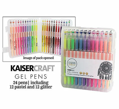 Kaisercraft Gel Pens Box 24 Colours Colors 12 Pastel & 12 Glitter