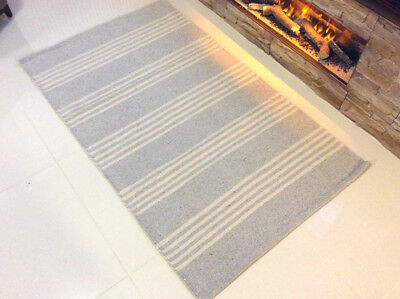 LIGHT GREY CREAM STRIPED Cotton Handmade Washable Kilim Rugs Durrie ECO Friendly