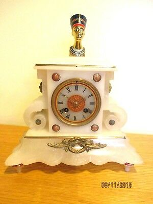 White Marble French 8 Day striking Mantel Clock Cica. 1890s.