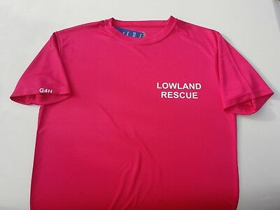 Bespoke Lowland Rescue wicking t-shirt white text, G4H Rescue Clothing.