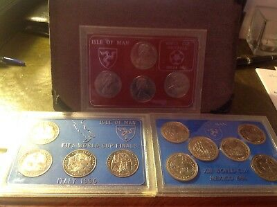 ISLE OF MAN WORLD CUP CROWNS 3 SETS 1982, 1986,1990 mint in cases RARE