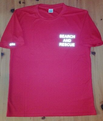 Search And Rescue SAR red wicking t-shirt reflective text G4H Rescue Clothing