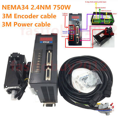 2.4NM 750W Servo Motor AC 220V Driver NEMA34 3000RPM CNC Machine & 3M Cable Kit