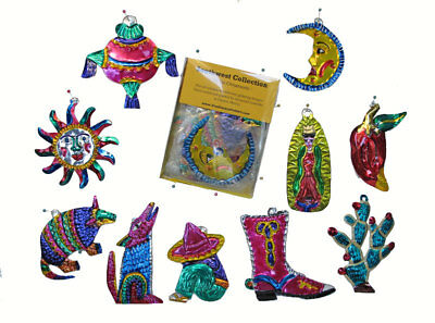 Mexican Tin Ornaments - SOUTHWEST STYLES 10 Figures In Box, Handmade in Oaxaca