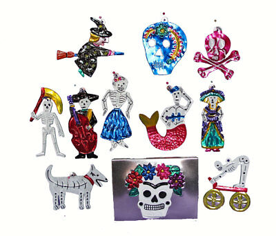 TIN SKELETON FIGURES - Set of 10 Day of Dead Ornaments in Box. Handmade Mexico