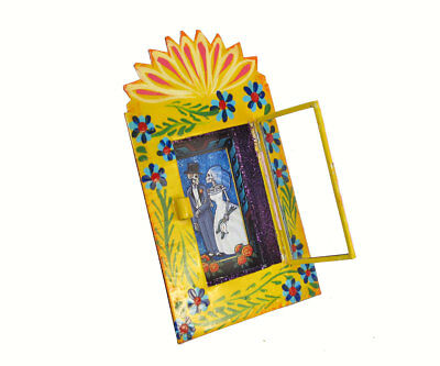 SKELETON BRIDE & GROOM - Mexican Day of Dead Decor - Tin Nicho Wall Art