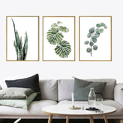 Green Plant Leaf Canvas Poster Modern Nordic Art Paint Wall Picture Home Decor