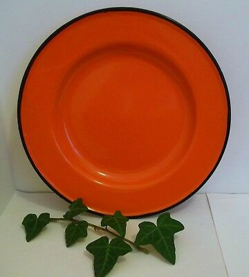 Vintage SCARLET/ reddish Orange ENAMEL PLATE 10.5 ins diameter Good condition