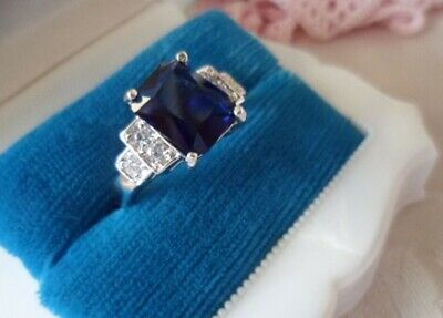 Antique Art Deco Jewellery Gold Dress Ring Blue White Sapphires Vintage Jewelry