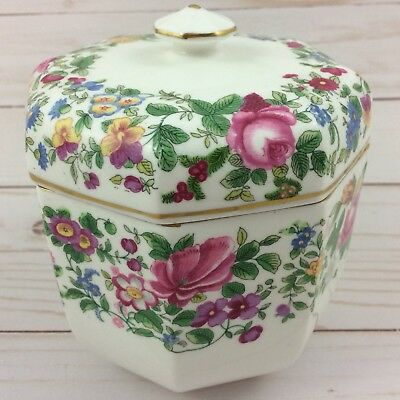 Crown Staffordshire Thousand Flowers Octagonal Covered Biscuit Jar Bone China