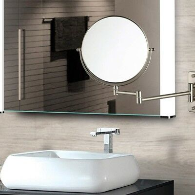 1 10x Magnifying Makeup Vanity Mirror Wall Mounted Dual Sided Folding Arm Silver