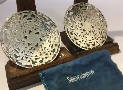 PAIR Shreve & Company USA Sterling Silver & Glass Drink / Wine Coasters & Bag.
