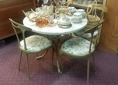 MCM 5 PC Dining Set: Table & 4 Chairs Kitchen Breakfast Bistro Pub Patio 1960s!