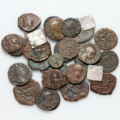 Mix Lot Of 29 Ancient Greek-Roman-Byzantine-Islamic & Pirates Bronze & Silver Co