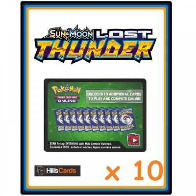 10x Pokemon Sun & Moon Lost Thunder Online Code Cards - Booster Pack Codes TCGO