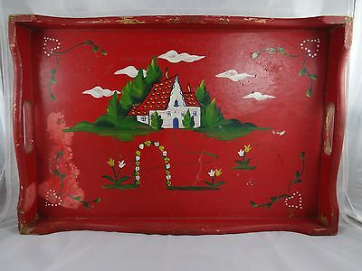 Antique Red Wooden Hand Painted Decorated Tray Wall Hanging 18x12 Vintage