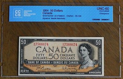 1954 $50 Canadian Bank Note Certified UNC-60  UNCIRCULATED Changeover