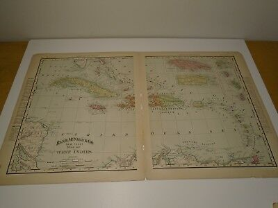 Antique Original 1895 Rand McNally Colored Map of Cuba, Jamaica, Puerto Rico