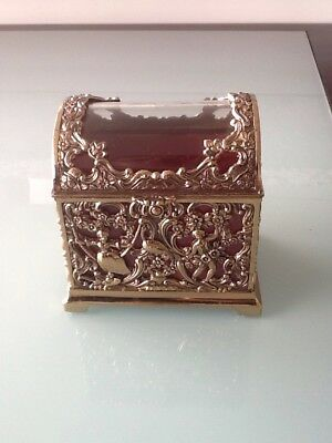 Vintage Gold Metal Glass Jewelry Trinket Casket Box