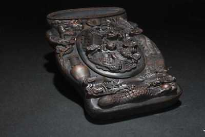 VINTAGE HAND CARVED CHINESE INKSTONE W/ MULTIPLE DRAGONS & A PHOENIX With Lid