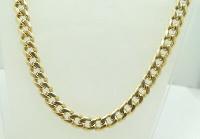 """Bold Heavy 14K Y Gold Dia. Cut 6.1mm Curb Link Chain Necklace 27"""" 82.8g A8271"""