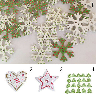20X Christmas Tree Snowflake Wooden Buttons Sewing and Scrapbookuy Pip—HQ