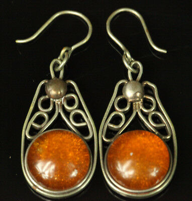 Natural OLD Antique 5.9g Butterscotch Egg Yolk Baltic Amber Stone Earrings B389