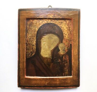 Antique Primitive Russian Orthodox Icon Our Lady of Kazan, Likely 18th C. 13.75""