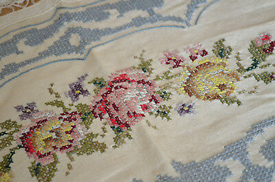 """STUNNING VINTAGE TABLECLOTH - HAND EMBROIDERED - 49 """"x 49""""- LINEN ROSES LACE"""