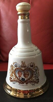 Wade Bells Whisky Decanter Prince Charles and Diana Wedding 1981