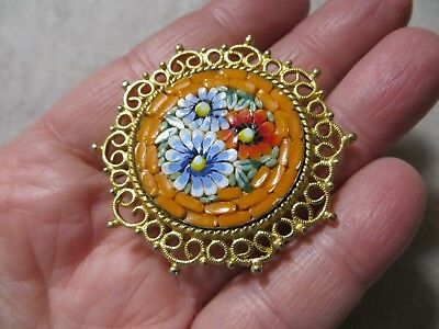 Vntg.60's Italy Fine Orange/Floral Micro Mosaic Glass Pin Brooch Gold tone metal