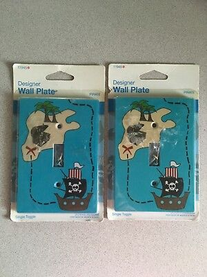 Lot of 2 Pirate Treasure Map Light Switch Cover- Designer Wall Plate