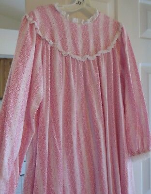 LANZ for L.L. BEAN  FREEPORT MAINE PINK GRANNY FLANNEL long nightgown size M
