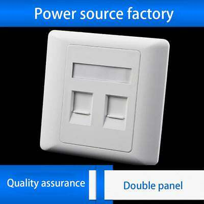 2 Port Double RJ45 CAT6 Ethernet Wall Flat Face Plate Socket Faceplate New