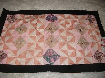 """Stain Glass in Pink"" Wall Hanging Doll / Lap Quilt Handmade 26"" x16"" Great gift"