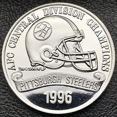 1996 AFC Central Division Champs Pittsburgh Steelers 1oz .999 Silver Coin (2021)
