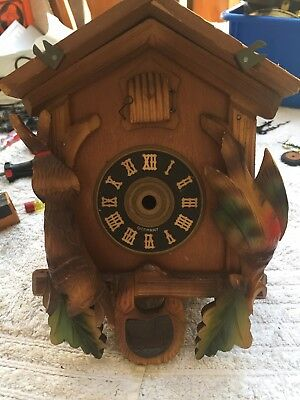 """Small Vintage Black Forest Hare & Pheasant Cuckoo Clock Case Very Good 9"""" By 6"""""""