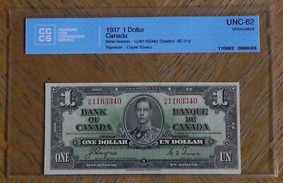 1937 $1 Coyne /Towers  Canada Bank Note Certified UNC-62