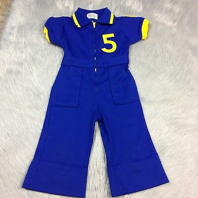 Vintage Baby Boys Healthtex Blue Yellow #5 Polyester Jumpsuit