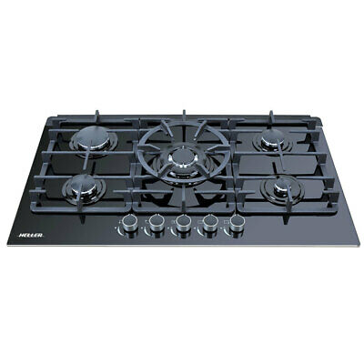 Heller Benchtop Gas Cooktop 90cm Glass 5 Burner Cooking w/ Electronic Ignition