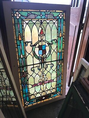 SG 2603 antiqueStained glass landing window torch and wreath 31.25 x 56.75