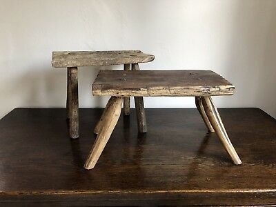 Antique Primitive Carved Milking Stool Bath Bootroom Table Rustic Farmhouse kids