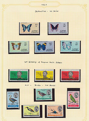 Ethiopia Stamps 1967 Butterflies Set Mnh, Anniversary Mnh, Birds Mnh, Vf Page