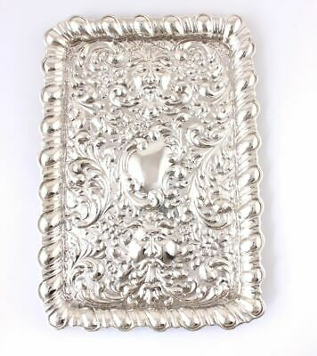 Antique Solid Silver Dressing Table Tray. Repousse Green Man Bacchus Face. 1902
