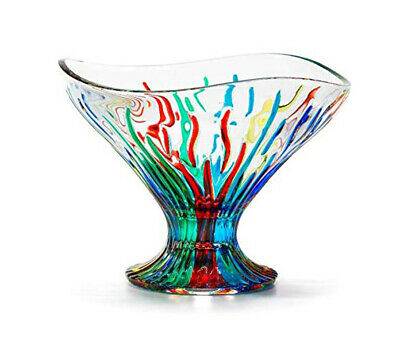Venetian Glass Large Fire Compote Bowl