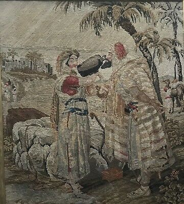 Old Tapestry Gros Point. Possibly a Biblical Scene. Arabic?