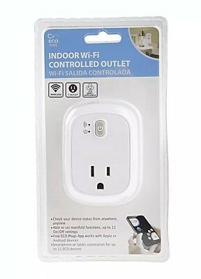NEW ECO Plugs Indoor Wi-Fi Controlled Smart Outlet Wireless Android & iOS Switch