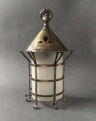 ARTS & CRAFTS BRASS HANGING PORCH LANTERN / HALL LIGHT WITH GLASS SHADE c.1910
