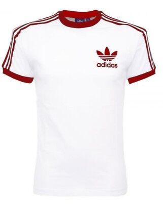 Adidas Originals Mens Trefoil California Tees Crew Neck T Shirt White Maroon NEW